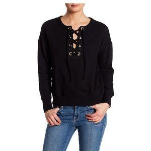 HARLOWE & GRAHAM Lace-Up Sweatshirt - Size Small